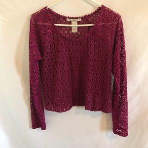 American Rag women's long sleeve crocheted top L